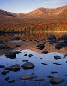 Hamlin Peak And Sandy Stream Pond, Autumn Colors, Sunrise, Flanks Of Mount, Katahdin, Baxter State Park — Stock Photo