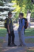 Two Boys With Backpacks — Stock Photo