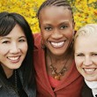 Multiethnic Portrait Of Three Women Outdoors — Stock Photo #31707601