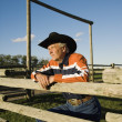 Rancher Leaning On A Corral — Stock Photo