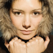 Stock Photo: Young WomWith Winter Coat