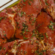 Stock Photo: Marinating Rib-Eye Steaks