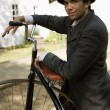MIn Period Costume With Antique Unicycle — Stock Photo #31716921