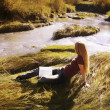 Stock Photo: WomReading On Riverbank
