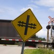 railroad crossing sign — Stock Photo