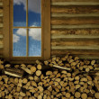 Stock Photo: Woodpile Inside Log Building