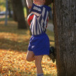 Young Soccer Player Drinking Juice — Stock Photo