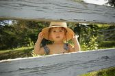 Little Boy In Straw Hat — Stock Photo