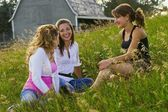 Young Women Talking In Field — Stock Photo