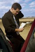 Man Looking At A Road Map — Stock Photo