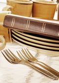 Bible With Dinnerware — Stock Photo