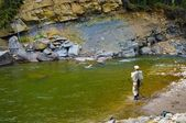 Fly Fishing In A River — Stock Photo