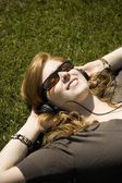 Listening To Headphones — Foto Stock
