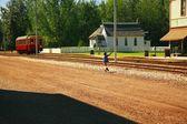 Fort Edmonton Park, Alberta, Boy Waving At Trolley — Stock Photo