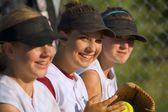 Weibliche baseball-spieler — Stockfoto