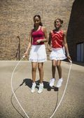 Girls Jumping Rope Together — Stock Photo