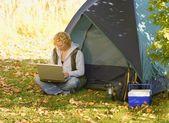 Woman Camping — Stock Photo