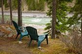 Lawn Chairs Situated By The Lake — Stock Photo