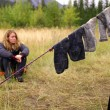 Stock Photo: Socks Drying In Camp