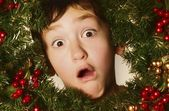 Boy In A Christmas Wreath — Stock Photo
