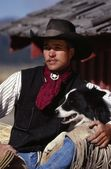 Cowboy With Border Collie Dog — Stock Photo