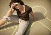 Woman With Chalk Outline — Stock Photo