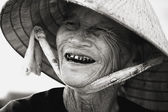 Native Woman Wearing Conical Hat, Vietnam — Stock Photo