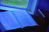 Open Bible At Window Side — Stock Photo