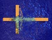 Cross In Water — Stock Photo