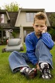 Child Refusing To Mow The Lawn — Stock Photo
