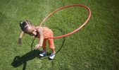 Child Plays With Hoop — Stock Photo