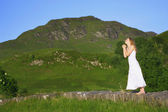 Praying In The Mountains — Stock Photo