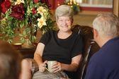 Seniors Having Coffee Together — Stock Photo