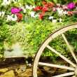 Stock Photo: Wooden Wagon Flower Bed
