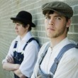 Stock Photo: Two Young Men In Old-Fashioned Garments