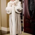 Woman Wearing A Fur Coat — Stock Photo