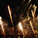 St Patrick's Day Festival, Fireworks Display, Custom House Quay, Dublin, Ireland — Stock Photo #31759513