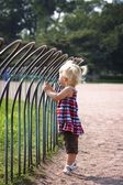 Girl Standing Against A Fence In A Park — Stock Photo