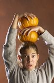 Girl Playing With Pumpkins — Stock Photo