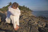 Woman On Rocky Shoreline — Stock Photo
