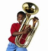 Child Playing Baritone — Stock Photo