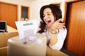 Business Woman Shredding To Do List — Stock Photo