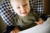 Baby Boy Crying In Highchair — Stock Photo