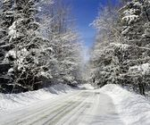 Rural Road In Winter, Eastern Townships, Quebec, Canada — Stock Photo