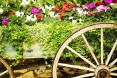 Wooden Wagon Flower Bed — Stock Photo