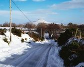 Snowy Road Near Sugarloaf Mountain, Co Wicklow, Ireland — Stock fotografie