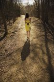 Young Woman Walking On A Path — Stock Photo