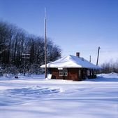 Old Train Station In The Snow — Stock Photo