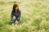 Woman In A Field — Stock Photo