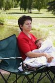 A Woman Holding Her Grandson — Stock Photo